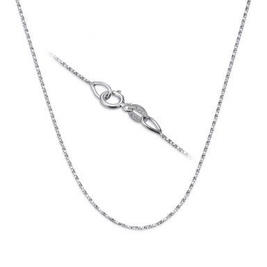 """שרשרת מסובבת זהב לבן 14 קראט, 0.6 מ""""מ עובי, 42 ס""""מ אורך"""