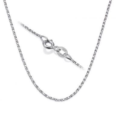 """שרשרת מסובבת זהב לבן 14 קראט, 1 מ""""מ עובי, 45 ס""""מ אורך"""