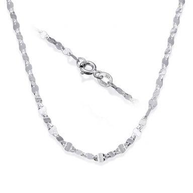 """שרשרת פורצטה זהב לבן 14 קראט, 2.4 מ""""מ עובי, 55 ס""""מ אורך"""