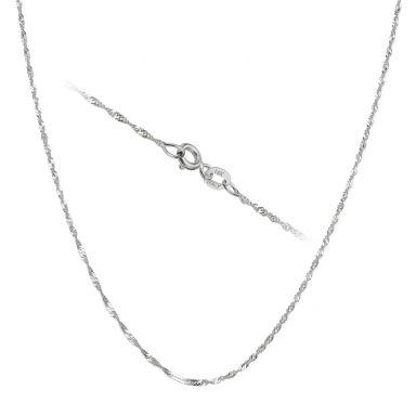 """שרשרת סינגפור זהב לבן 14 קראט, 1.2 מ""""מ עובי, 42 ס""""מ אורך"""