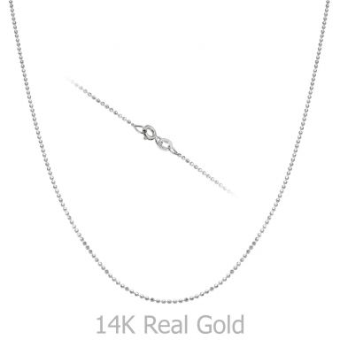 """שרשרת כדורים זהב לבן 14 קראט, 0.9 מ""""מ עובי, 45 ס""""מ אורך"""