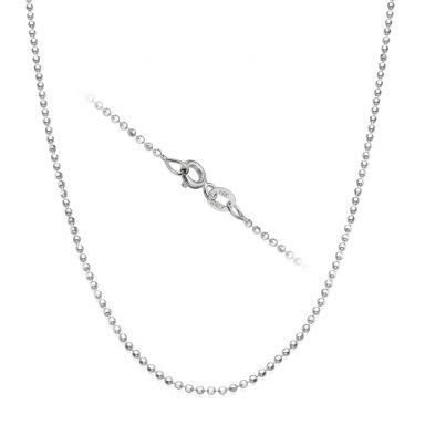 """שרשרת כדורים זהב לבן 14 קראט, 1.4 מ""""מ עובי, 45 ס""""מ אורך"""