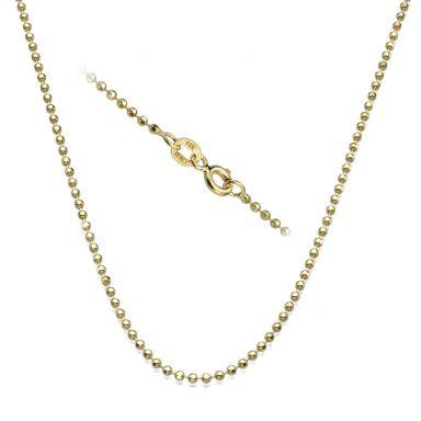 """שרשרת כדורים זהב צהוב 14 קראט, 1.8 מ""""מ עובי, 45 ס""""מ אורך"""