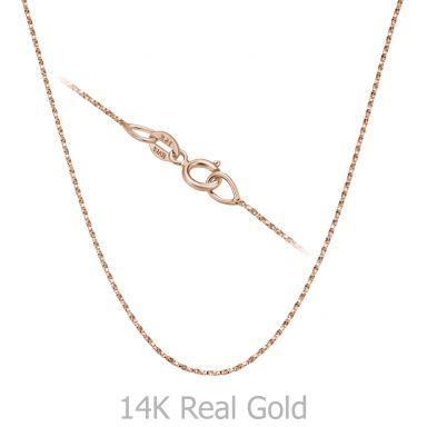"""שרשרת מסובבת זהב ורוד 14 קראט, 0.6 מ""""מ עובי, 38 ס""""מ אורך"""