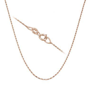"""שרשרת מסובבת זהב ורוד 14 קראט, 0.6 מ""""מ עובי, 42 ס""""מ אורך"""