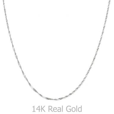 """שרשרת זהב לבן 14 קראט לגברים, מדגם סינגפור 1.6 מ""""מ עובי, 50 ס""""מ אורך"""