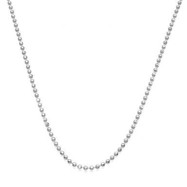 """שרשרת זהב לבן 14 קראט לגברים, מדגם כדורים 1.8 מ""""מ עובי, 50 ס""""מ אורך"""