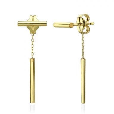עגילים צמודים מזהב צהוב 14 קראט - חוטי זהב