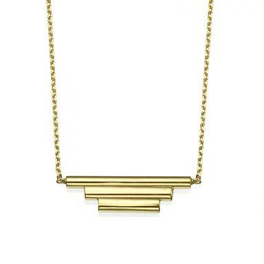 תליון ושרשרת מזהב צהוב 14 קראט - צינורות הזהב