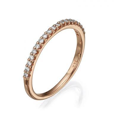 טבעת יהלום מזהב ורוד 14 קראט - נסיכת קיץ