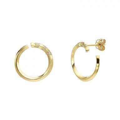 עגילי יהלום צמודים מזהב צהוב 14 קראט - סאנרייז