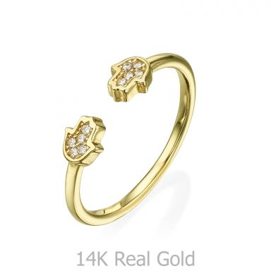 טבעת פתוחה מזהב צהוב 14 קראט - חמסות נוצצות