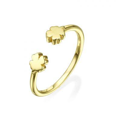טבעת פתוחה מזהב צהוב 14 קראט - תלתנים