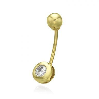 פירסינג לטבור מזהב צהוב 14 קראט - כדור זהב וזירקון