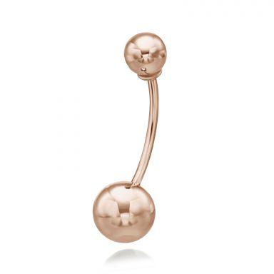 פירסינג לטבור מזהב ורוד 14 קראט - כדורי זהב