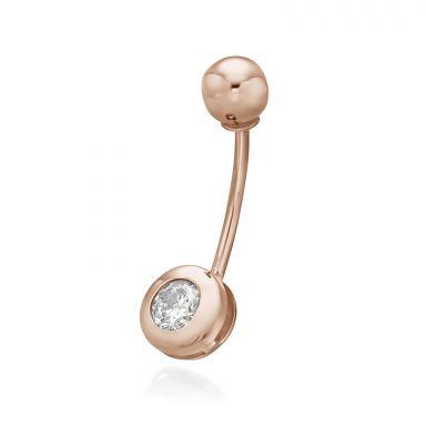 פירסינג לטבור מזהב ורוד 14 קראט - כדור זהב וזירקון