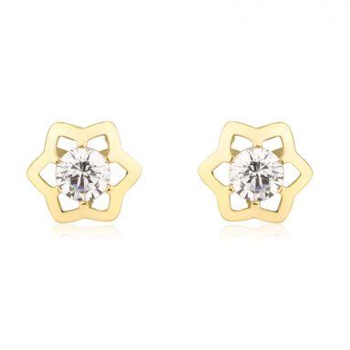 עגילים צמודים מזהב צהוב 14 קראט - כוכב יוקרתי