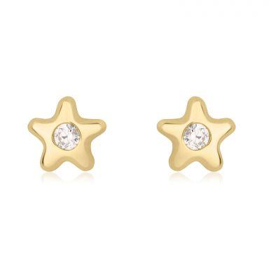 עגילים צמודים מזהב צהוב 14 קראט - כוכב נילי