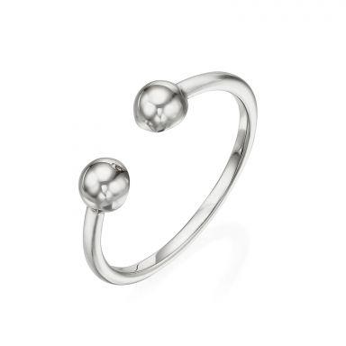 טבעת פתוחה מזהב לבן 14 קראט - כיפות זהב