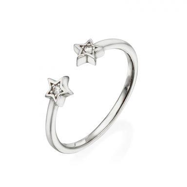 טבעת פתוחה מזהב לבן 14 קראט - כוכבים נוצצים