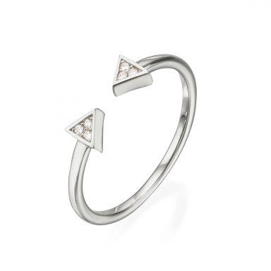 טבעת פתוחה מזהב לבן 14 קראט - משולשים נוצצים