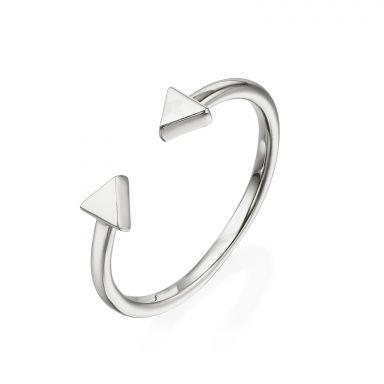 טבעת פתוחה מזהב לבן 14 קראט - משולשים