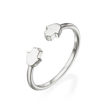 טבעת פתוחה מזהב לבן 14 קראט - חמסות