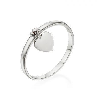 טבעת עם צ'ארם מזהב לבן 14 קראט - צ'ארם לב