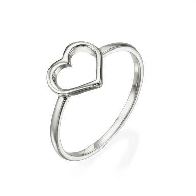 טבעת מזהב לבן 14 קראט - לב