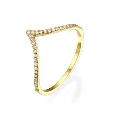 טבעת מזהב צהוב 14 קראט - וי גדול עם זירקונים