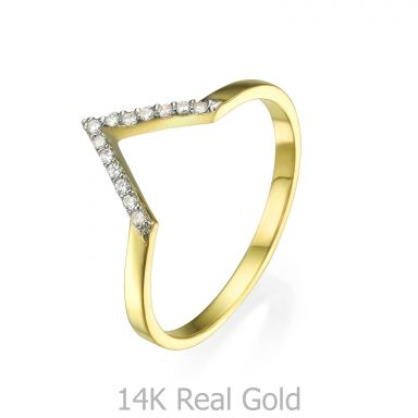 טבעת מזהב צהוב 14 קראט - וי קטן עם זירקונים