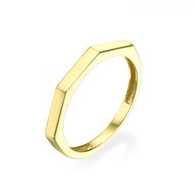 טבעת מזהב צהוב 14 קראט - גאומטרית