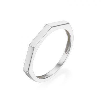 טבעת מזהב לבן 14 קראט - גאומטרית