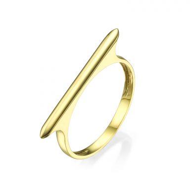טבעת מזהב צהוב 14 קראט - פס