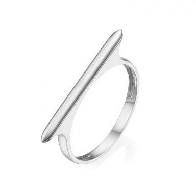 טבעת מזהב לבן 14 קראט - פס
