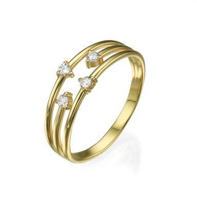 טבעת מזהב צהוב 14 קראט - אלמנטס