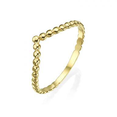 טבעת מזהב צהוב 14 קראט - וי כדורים