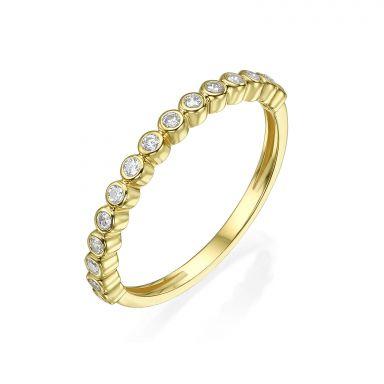 טבעת מזהב צהוב 14 קראט - כדורים וזירקונים