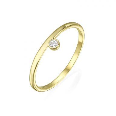 טבעת מזהב צהוב 14 קראט - אמה