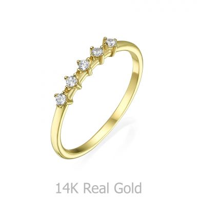 טבעת מזהב צהוב 14 קראט - מייגן