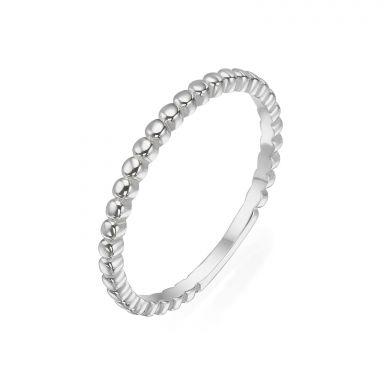 טבעת מזהב לבן 14 קראט - כדורים