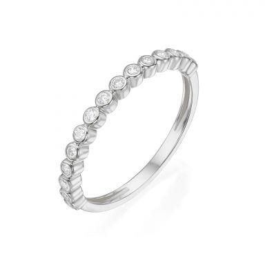 טבעת מזהב לבן 14 קראט - כדורים וזירקונים