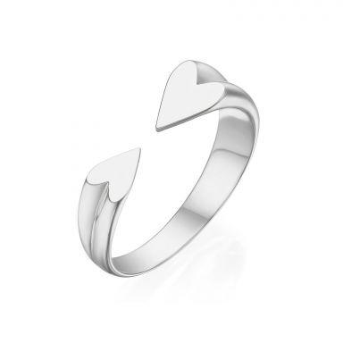 טבעת פתוחה מזהב לבן 14 קראט - הלב שלי