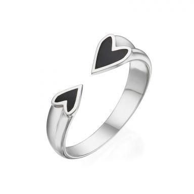 טבעת פתוחה מזהב לבן 14 קראט - הלב שלי (שחור)