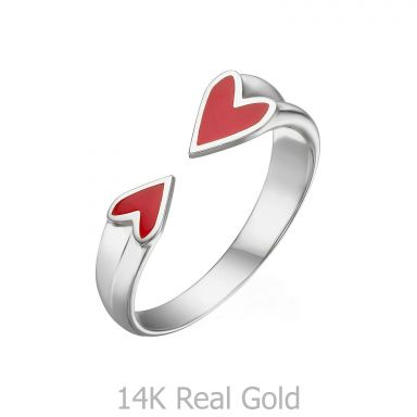 טבעת פתוחה מזהב לבן 14 קראט - הלב שלי (אדום)