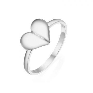 טבעת מזהב לבן 14 קראט - לב עמוק