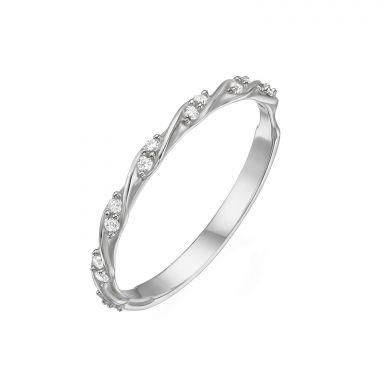 טבעת מזהב לבן 14 קראט - טוויסט