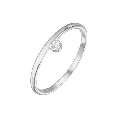 טבעת מזהב לבן 14 קראט - אמה