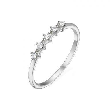 טבעת מזהב לבן 14 קראט - מייגן