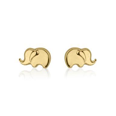 עגילים צמודים מזהב צהוב 14 קראט - פיל פילון